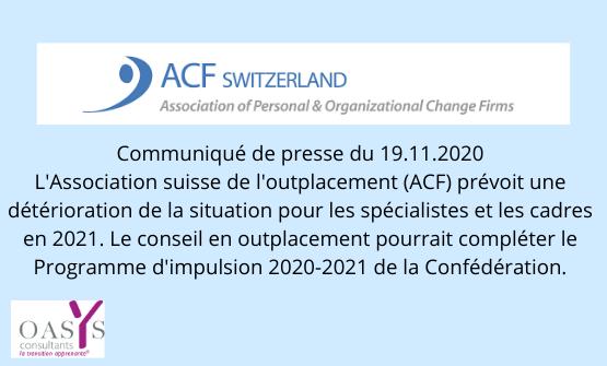 L'Association suisse de l'outplacement (ACF) prévoit une détérioration de la situation pour les spécialistes et les cadres en 2021